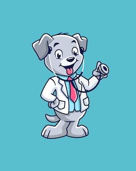 Дружелюбный маленький собачий доктор мультипликационный персонаж