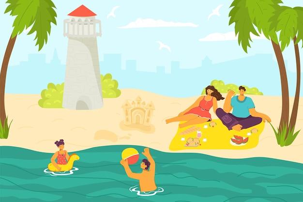 フレンドリーで素敵なロマンチックな家族が一緒に屋外の砂浜の熱帯の休暇の休憩時間フラットベクトルイラスト、レジャー活動をリラックスします。人々のキャラクターの子供たちは海の水を泳ぎ、親は日光浴をします。