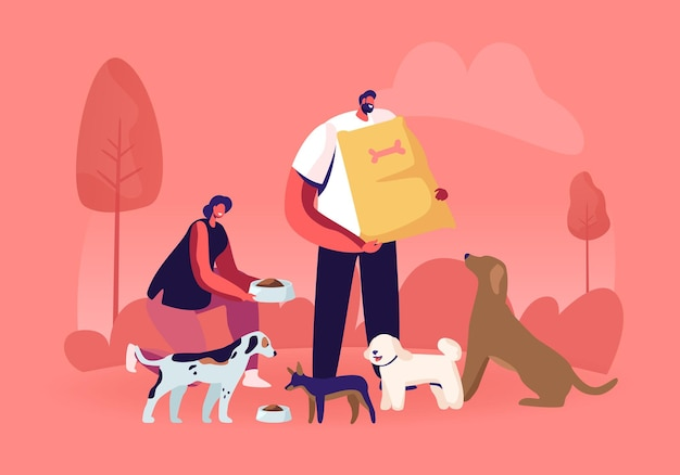 Friendly male and female volunteer characters feeding dogs in animal shelter or pound. cartoon flat illustration