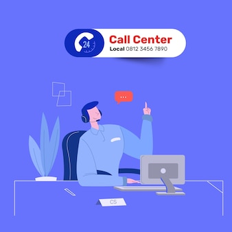 Friendly man call center service answer question