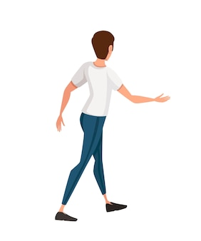Friendly man extends his hand in greeting cartoon character design flat vector illustration
