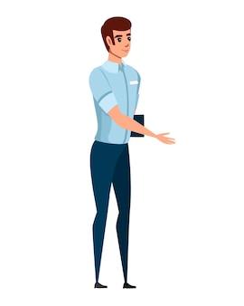 친절한 남자 인사말 만화 캐릭터 디자인 평면 벡터 일러스트 레이 션에 그의 손을 확장