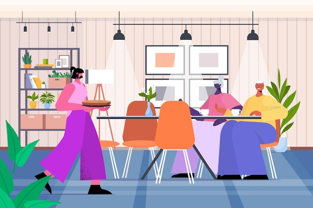 Friendly nurse or volunteer bringing food to senior couple home care services healthcare and social support concept home kitchen interior horizontal full length vector illustration