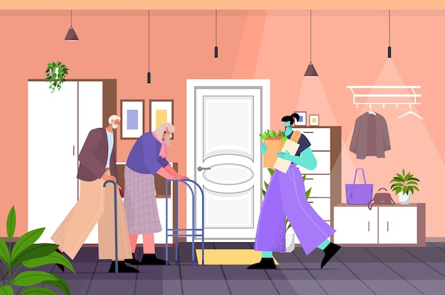 Friendly nurse or volunteer bringing food to senior couple home care services healthcare and social support concept living room interior horizontal full length vector illustration