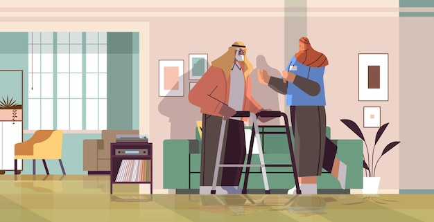 Friendly nurse or volunteer supporting arab elderly man with walkers home care services healthcare and social support concept horizontal full length vector illustration