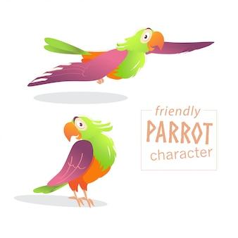 친절한 앵무새 캐릭터. 삽화.