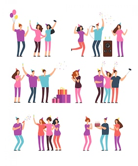 Friendly people men, women dancing, singing and having fun at party. friends celebrating birthday. vector cartoon characters isolated