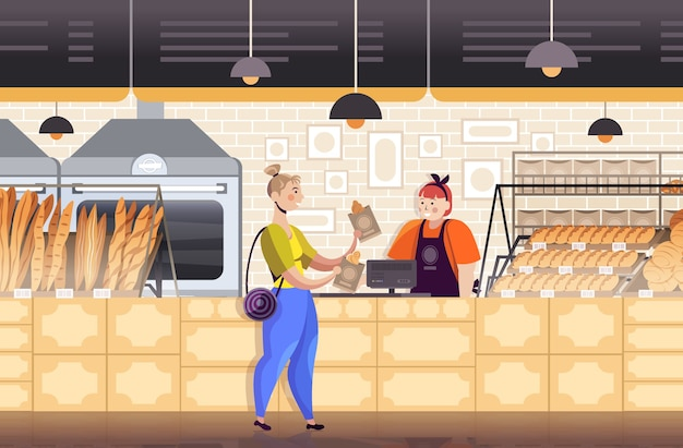 Friendly saleswoman working and selling fresh bread to female customer modern bakery interior full length horizontal vector illustration