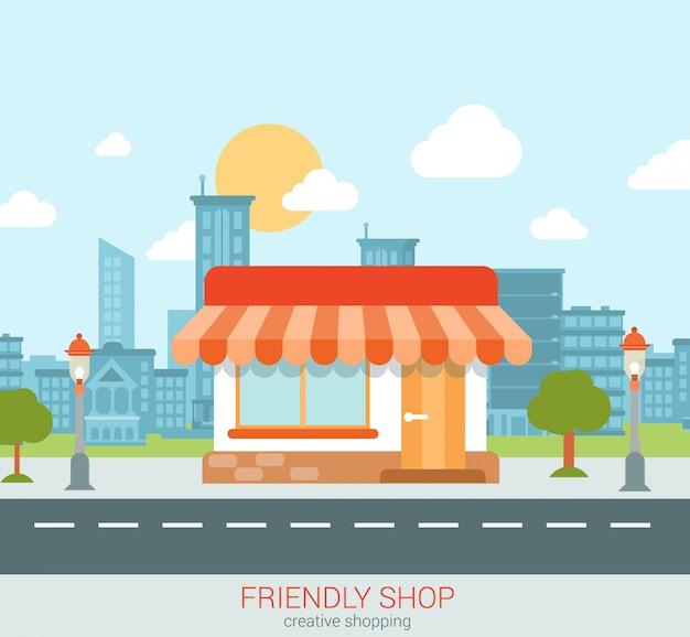 도시 평면 스타일 그림에서 친절한 상점 쇼케이스.
