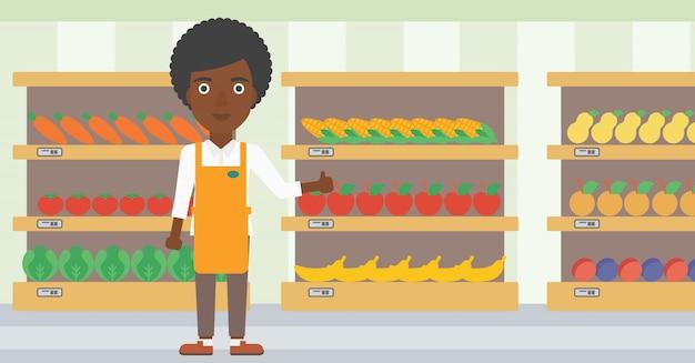 Friendly supermarket worker vector illustration.