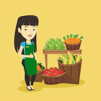フレンドリーなスーパーマーケットの労働者。