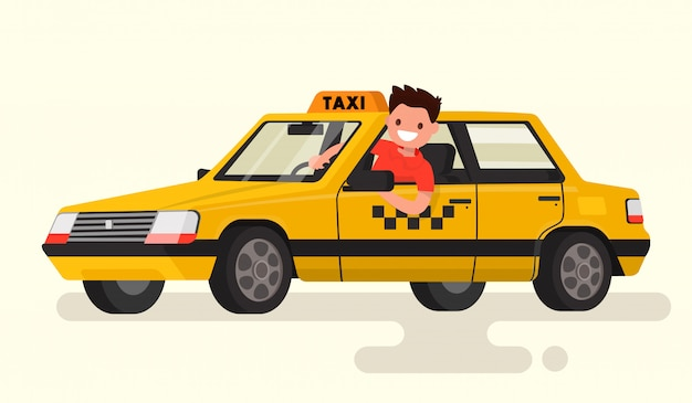 Friendly taxi driver at the wheel of the car illustration