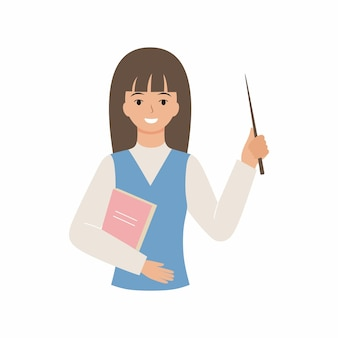 포인터와 미소를 가진 친절한 선생님. 흰색 배경에 고립 된 교사의 평면 그림. 학교 직원의 벡터 문자입니다.