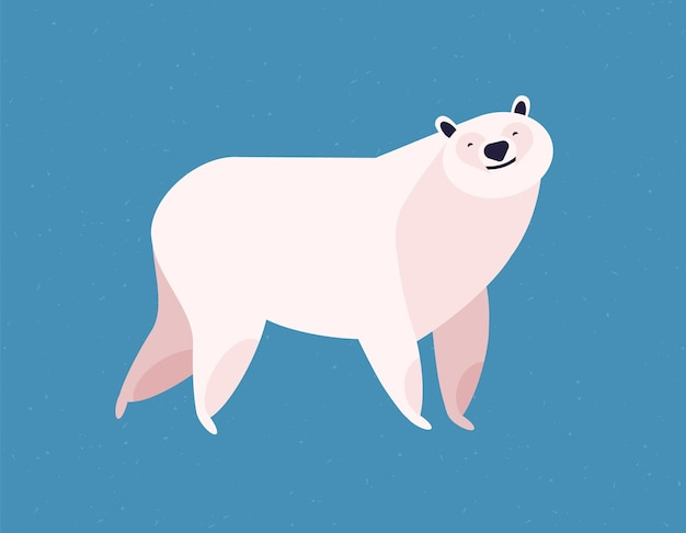 Friendly white polar bear at blue ice winter background flat illustration