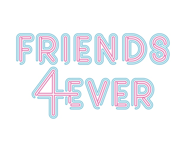 Friends 4ever lettering in neon font of pink and blue color illustration design Premium Vector