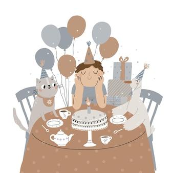 友達がテーブルでバースデーケーキとお茶を祝っている陽気な子供たちのパーティー