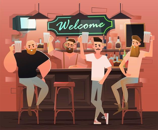 Друзья в баре. товарищи поднимают бокалы с пивом.