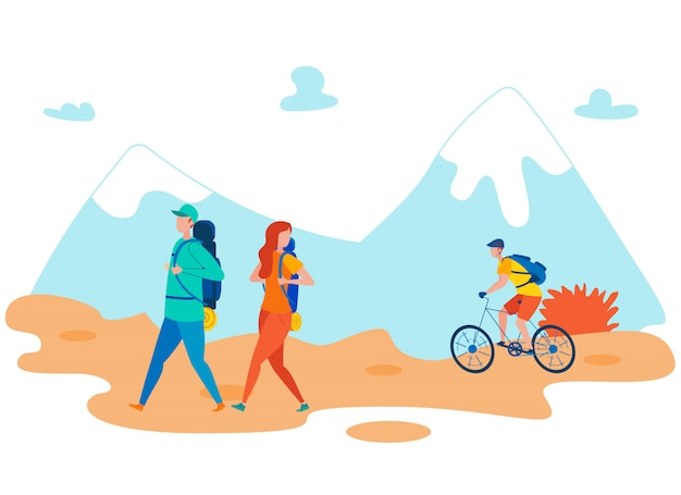 Friends backpacking holiday flat illustration