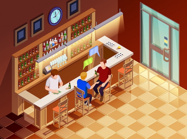 .friends in bar interior isometric view