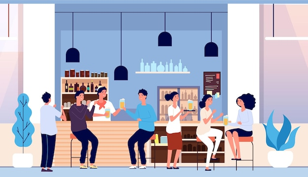 Friends in beer bar. flat people with glasses, waiter and happy man woman. cafe interior, guys drinking alcohol. group of adults on friday evening or party vector illustration. alcohol beer pub