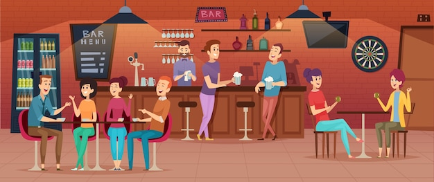Friends cafe interior. people meeting in restaurant bar for dinner drinking eating and joking group of best friends vector cartoon. illustration of interior cafeteria, meeting to conversation