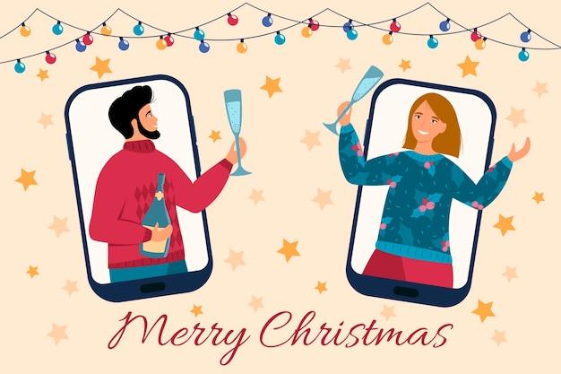 友達は携帯電話を使用してオンラインでクリスマスと新年を祝う男性と女性のパーティーオンラインビデオ通話のイラストとクリスマスの新しい通常の概念
