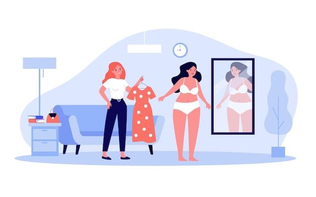 Друзья вместе выбирают наряд плоские векторные иллюстрации. полная женщина в нижнем белье, глядя в зеркало, пока друг держит платье. избыточный вес, самооценка, стиль, одежда, концепция дружбы