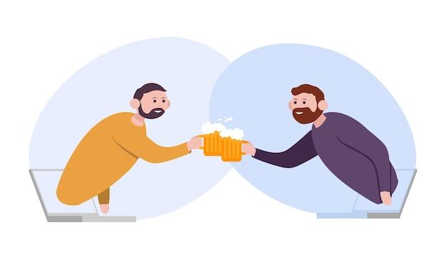 Друзья чокаются пивом они с ноутбуков гнали онлайн-общение и виртуальную рабочую встречу