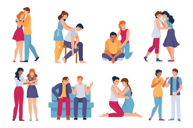 위로해주는 친구들. 스트레스를 받고 슬프고 우울한 사람들을 위한 정신적 지원. 가족의 포옹, 보살핌, 편안함. 슬픔 벡터 세트에 있는 여자와 남자. 일러스트 공감과 응원 친구
