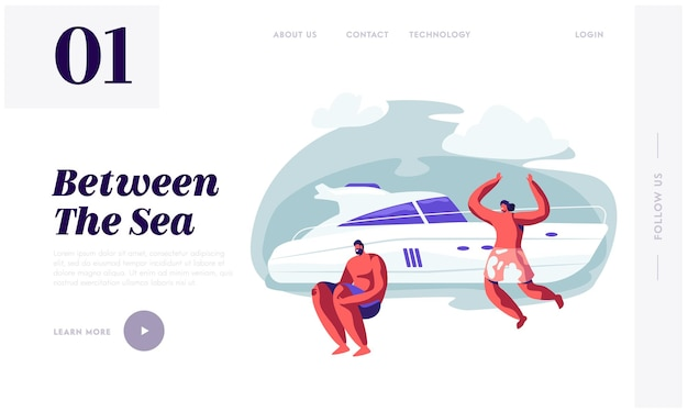 Friends company relaxing on luxury yacht at ocean. website landing page template