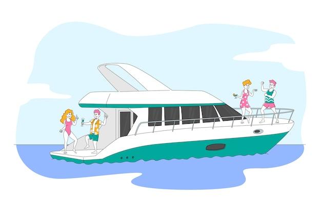 Компания друзей отдыхает на роскошной яхте в океане
