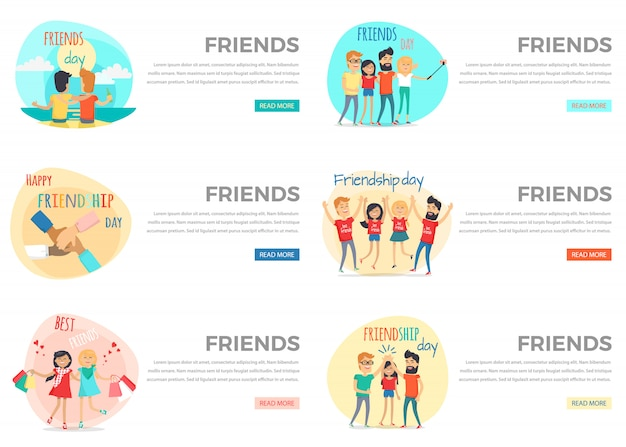 Friends conceptual web banners set.