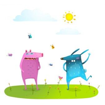 Друзья милые животные играют весело на солнечной траве газон