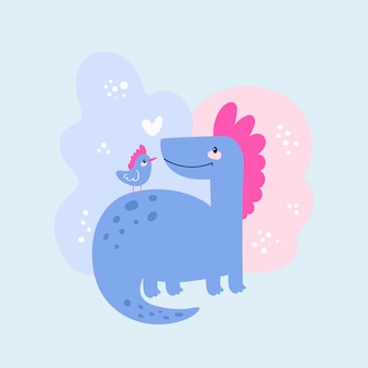 Friends dinosaur and bird