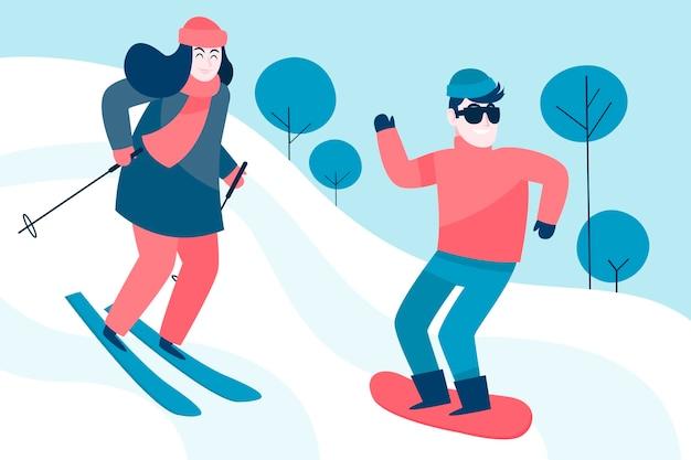 楽しい冬のアクティビティをしている友達