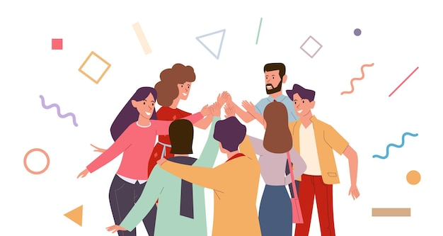 Friends doing high five illustration