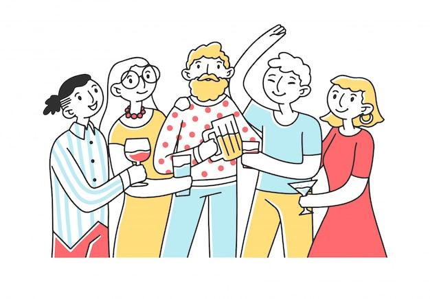 Друзья пьют алкоголь на вечеринке иллюстрации