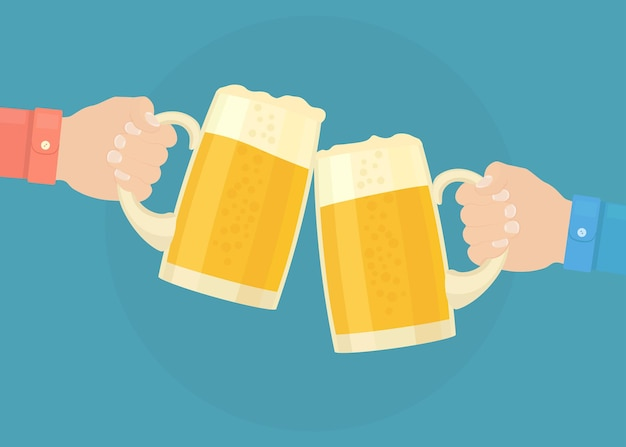 ビールを飲む友達がパブの乾杯イラストで歓声を上げる