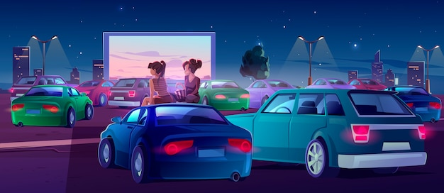 Friends in drive-in theater