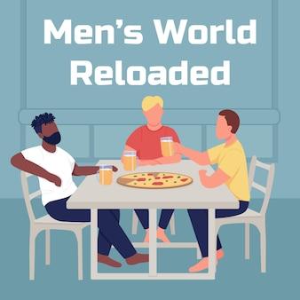 友達はモックアップ後にピザソーシャルメディアを食べます。男性の世界はフレーズをリロードしました。 webバナーデザインテンプレート。楽しいブースター、碑文のあるコンテンツレイアウト。ポスター、印刷広告、フラットなイラスト