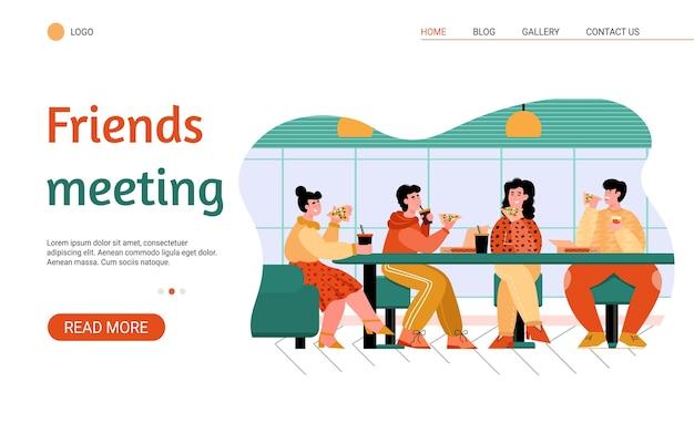 Друзья едят в пиццерии - баннер сайта с людьми в кафе