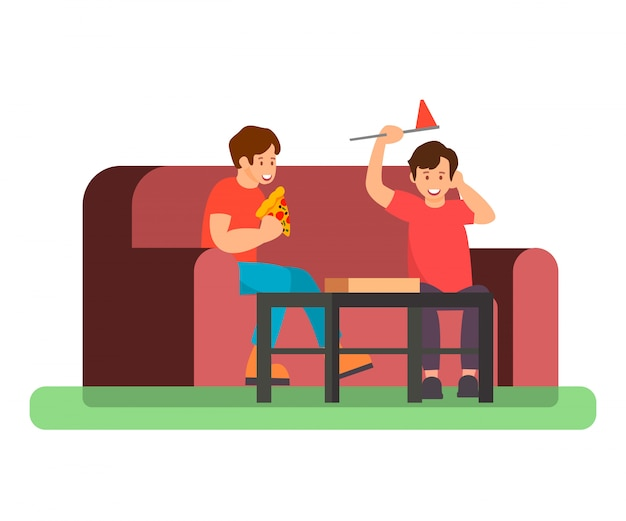 Friends eating pizza color vector illustration