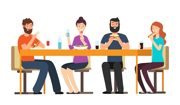 간식을 먹는 친구. 친절한 사람들 그룹은 레스토랑에서 책상에서 저녁 식사를합니다. 고립 된 만화 벡터 캐릭터