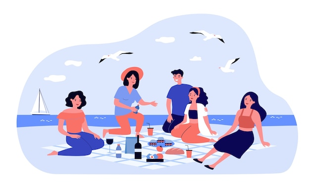 Friends enjoying picnic at sea. group of happy people sitting on beach with food and drinks on plaid.  illustration for leisure time, summer, seaside concepts