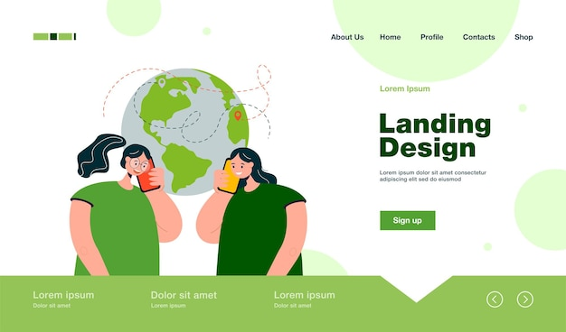Friends from different continents talking on phone landing page in flat style