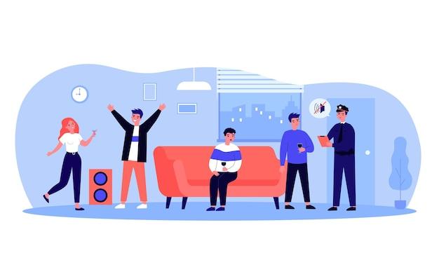 시끄러운 파티를 하기 위해 소음 불만을 받는 친구들. 경찰관이 아파트 소유자에게 평면 벡터 일러스트레이션에서 음악을 끄도록 요청합니다. 축하, 배너, 웹사이트 디자인을 위한 이웃 개념