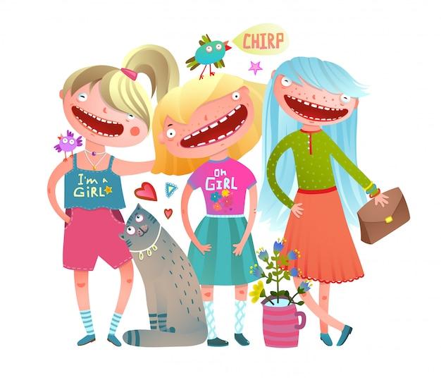 Friends girls fashion stylish colorful watercolor