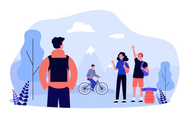 Друзья, идущие в поход плоские векторные иллюстрации. молодые люди с рюкзаками встречают парня на природе, машут руками, вместе отправляются в поездку, велосипедист в фоновом режиме. путешествия, природа, концепция дружбы