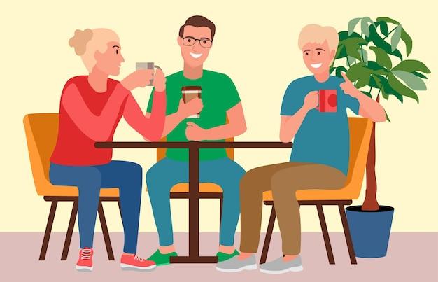 Друзья вместе хорошо провели время в кафе