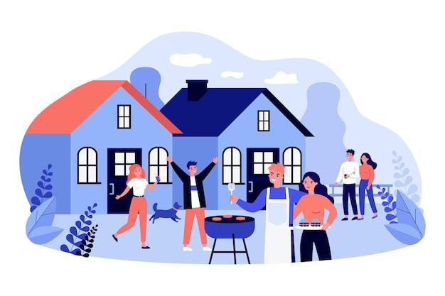 뒤뜰 바베큐 파티에서 즐거운 시간을 보내는 친구들. 평면 벡터 일러스트 레이 션. 이웃, 젊은 부부는 함께 음식을 굽고 휴식을 취합니다. 주말, 휴가, 가족, 우정, 음식, 파티 개념